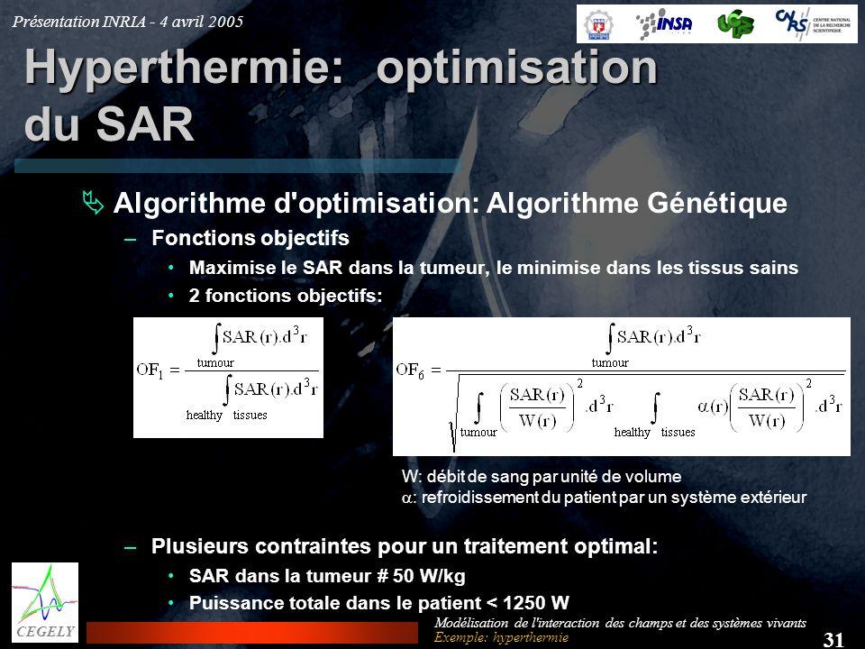 Présentation INRIA - 4 avril 2005 31 CEGELY Modélisation de l'interaction des champs et des systèmes vivants Hyperthermie: optimisation du SAR Algorit