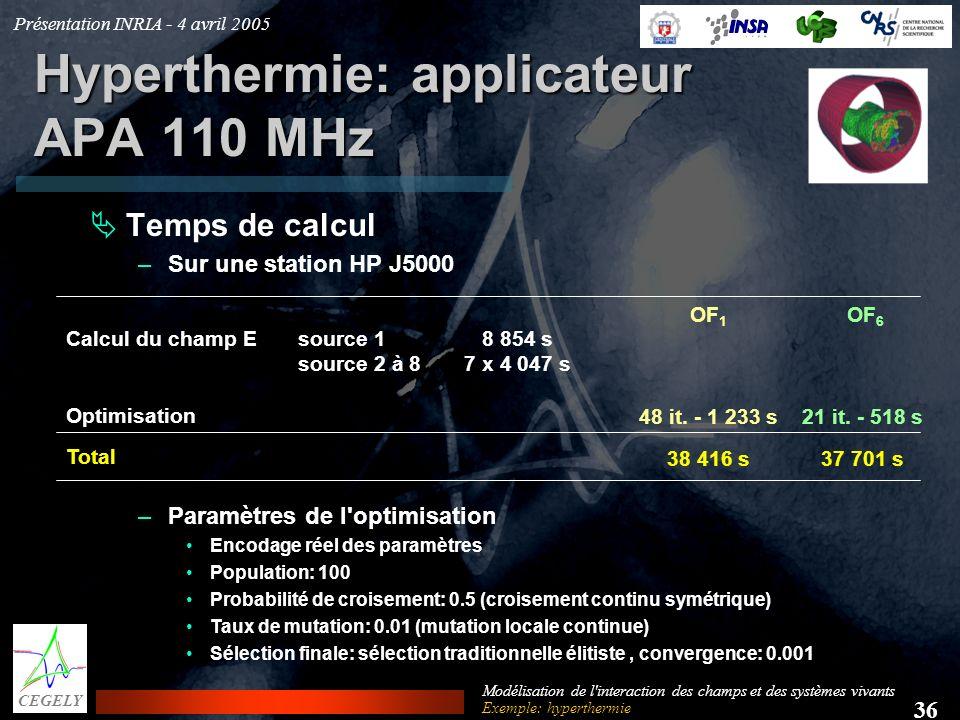 Présentation INRIA - 4 avril 2005 36 CEGELY Modélisation de l'interaction des champs et des systèmes vivants Hyperthermie: applicateur APA 110 MHz Tem