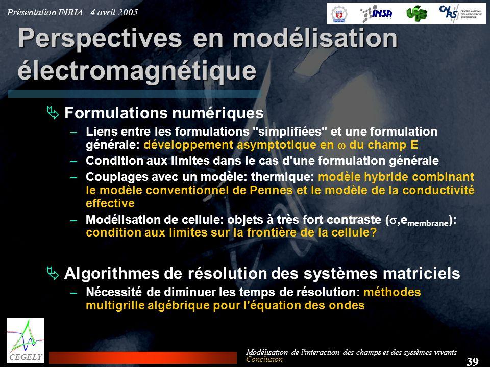 Présentation INRIA - 4 avril 2005 39 CEGELY Modélisation de l'interaction des champs et des systèmes vivants Perspectives en modélisation électromagné