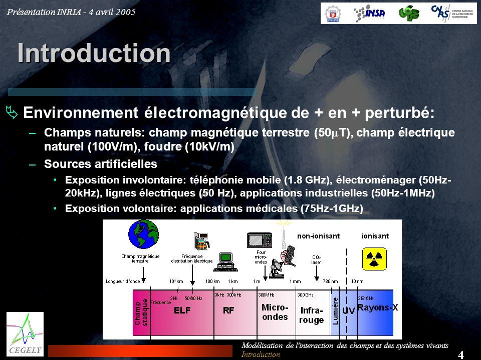 Présentation INRIA - 4 avril 2005 4 CEGELY Modélisation de l'interaction des champs et des systèmes vivants Introduction Environnement électromagnétiq