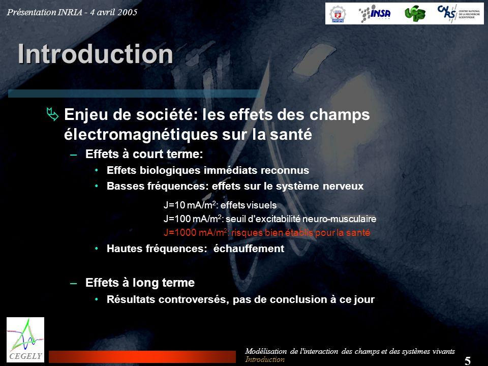 Présentation INRIA - 4 avril 2005 5 CEGELY Modélisation de l'interaction des champs et des systèmes vivants Introduction Enjeu de société: les effets