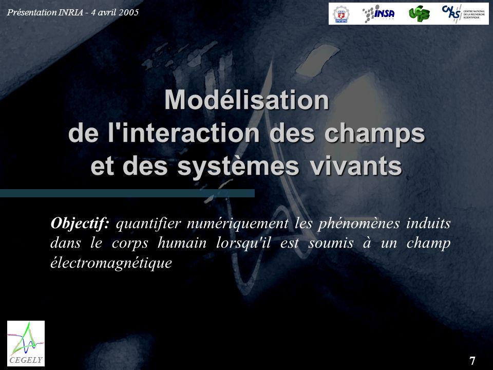 Présentation INRIA - 4 avril 2005 7 CEGELY Modélisation de l'interaction des champs et des systèmes vivants Objectif: quantifier numériquement les phé