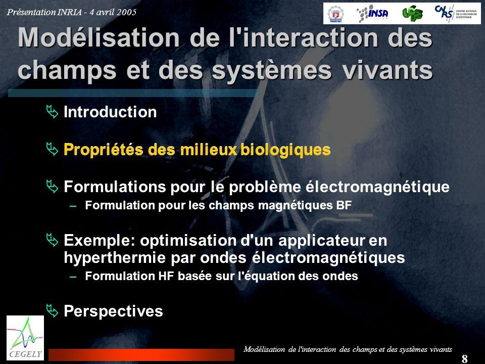 Présentation INRIA - 4 avril 2005 8 CEGELY Modélisation de l'interaction des champs et des systèmes vivants Introduction Propriétés des milieux biolog