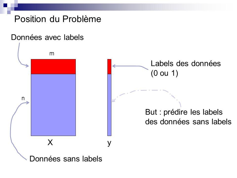 Position du Problème m n Labels des données (0 ou 1) Données avec labels Données sans labels But : prédire les labels des données sans labels Xy