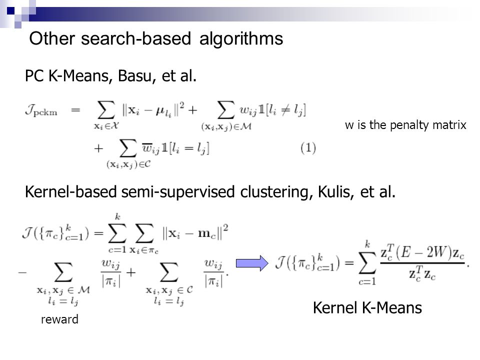 Other search-based algorithms Kernel-based semi-supervised clustering, Kulis, et al. Kernel K-Means PC K-Means, Basu, et al. w is the penalty matrix r