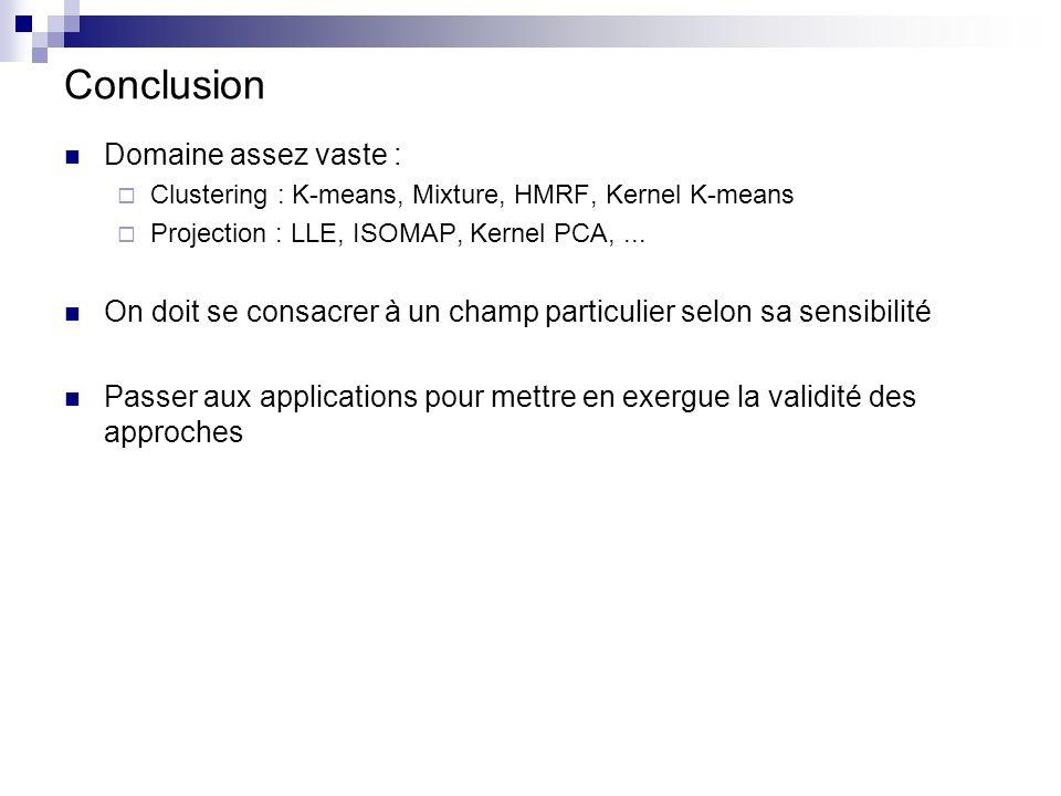 Conclusion Domaine assez vaste : Clustering : K-means, Mixture, HMRF, Kernel K-means Projection : LLE, ISOMAP, Kernel PCA,... On doit se consacrer à u
