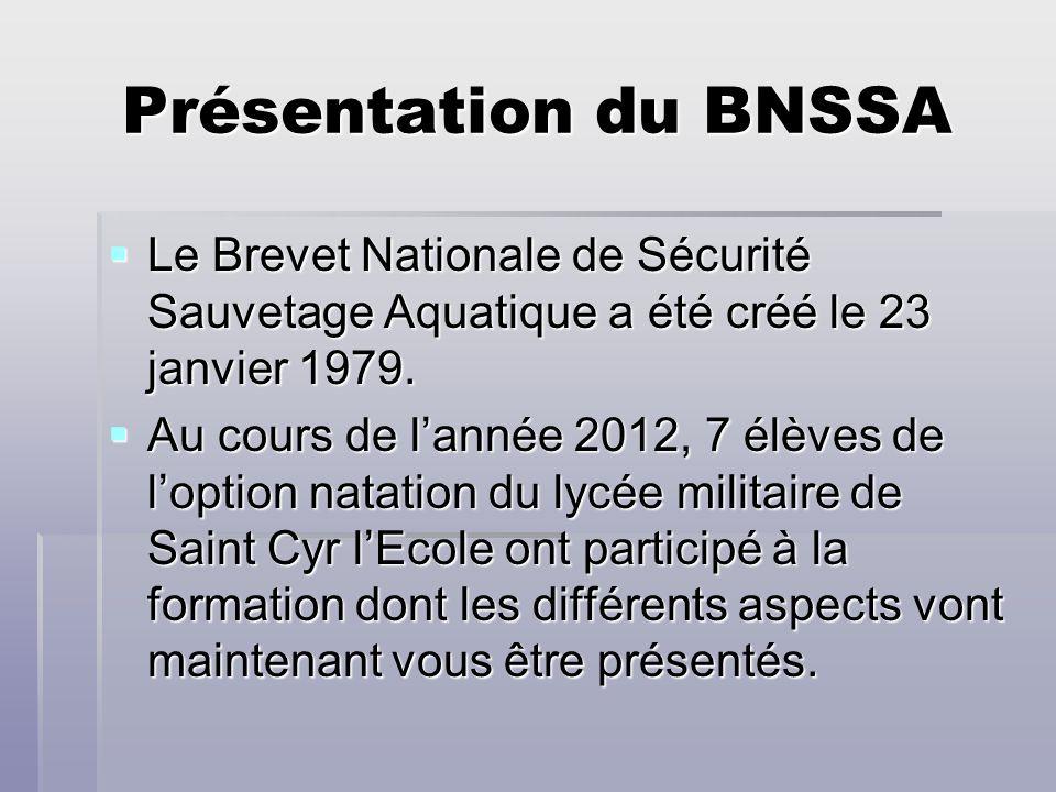 Présentation du BNSSA Le Brevet Nationale de Sécurité Sauvetage Aquatique a été créé le 23 janvier 1979. Le Brevet Nationale de Sécurité Sauvetage Aqu