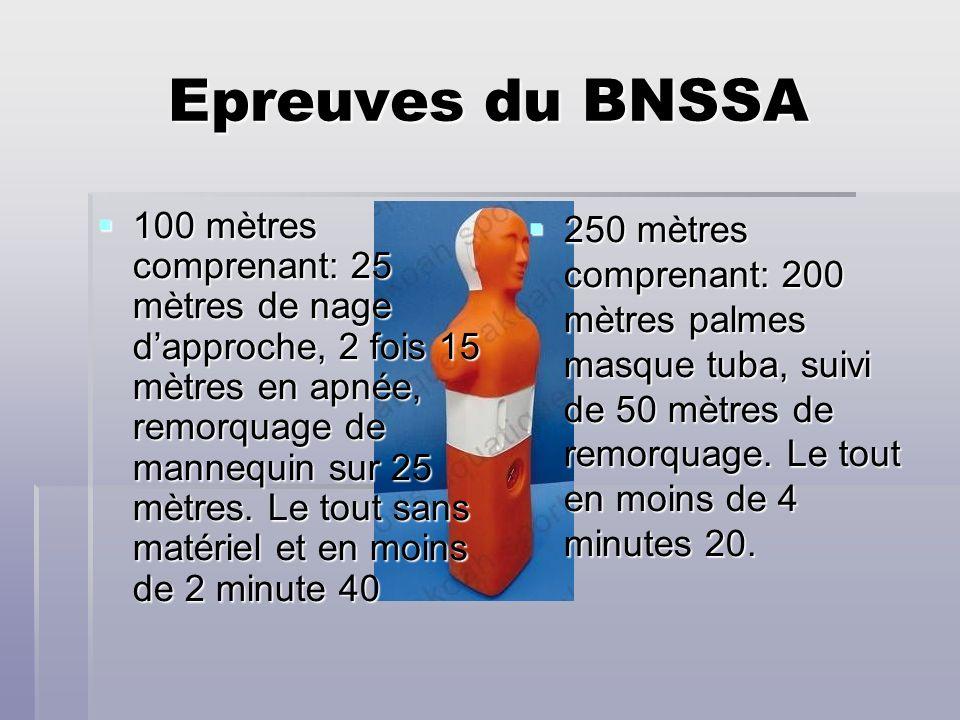 Epreuves du BNSSA 100 mètres comprenant: 25 mètres de nage dapproche, 2 fois 15 mètres en apnée, remorquage de mannequin sur 25 mètres. Le tout sans m