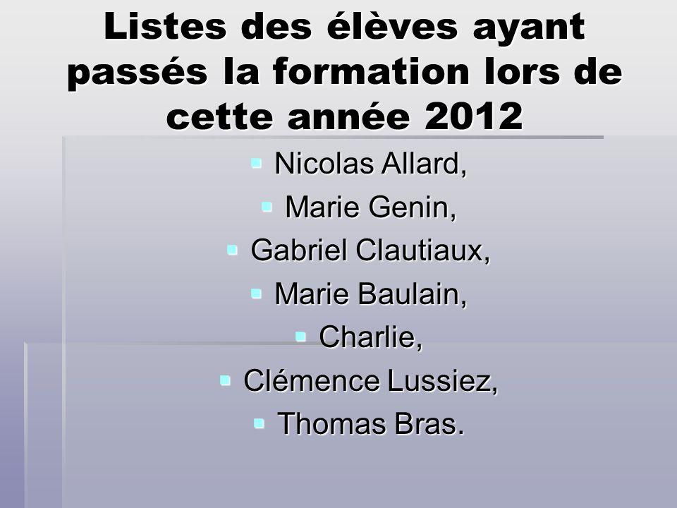 Listes des élèves ayant passés la formation lors de cette année 2012 Nicolas Allard, Nicolas Allard, Marie Genin, Marie Genin, Gabriel Clautiaux, Gabr