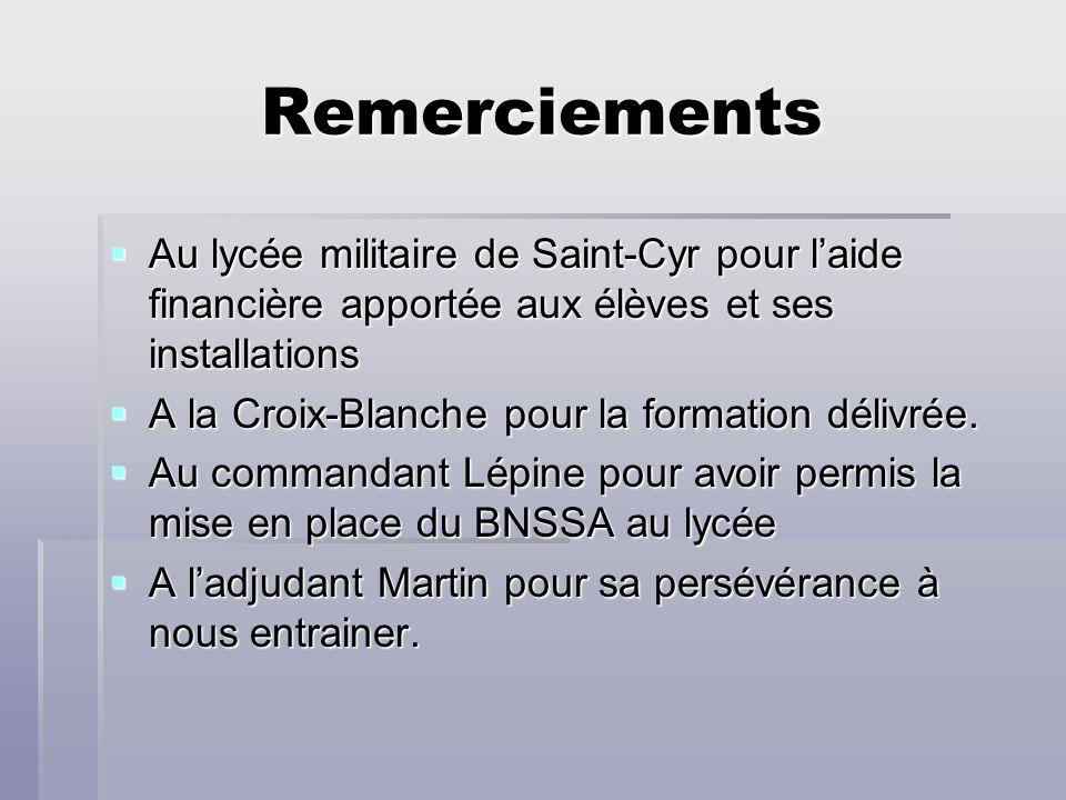 Remerciements Au lycée militaire de Saint-Cyr pour laide financière apportée aux élèves et ses installations Au lycée militaire de Saint-Cyr pour laid