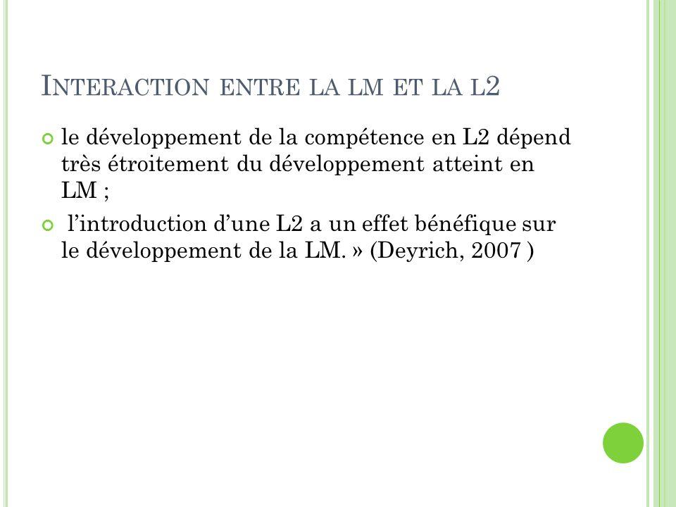 I NTERACTION ENTRE LA LM ET LA L 2 le développement de la compétence en L2 dépend très étroitement du développement atteint en LM ; lintroduction dune