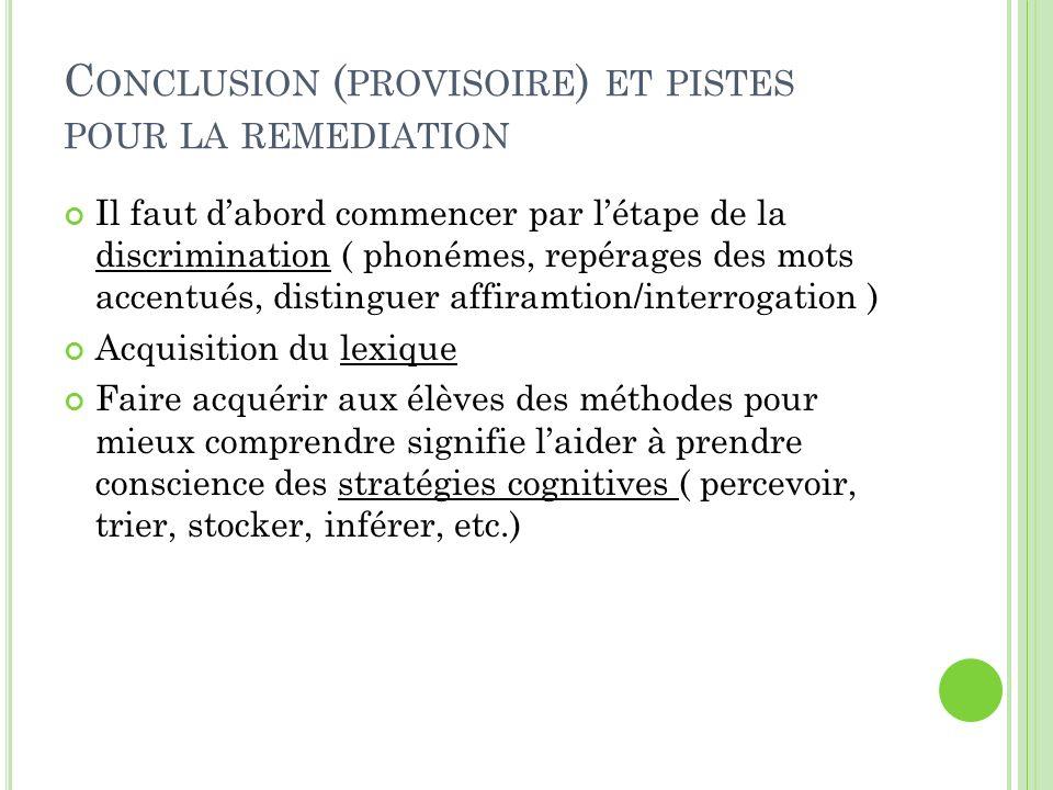 C ONCLUSION ( PROVISOIRE ) ET PISTES POUR LA REMEDIATION Il faut dabord commencer par létape de la discrimination ( phonémes, repérages des mots accen