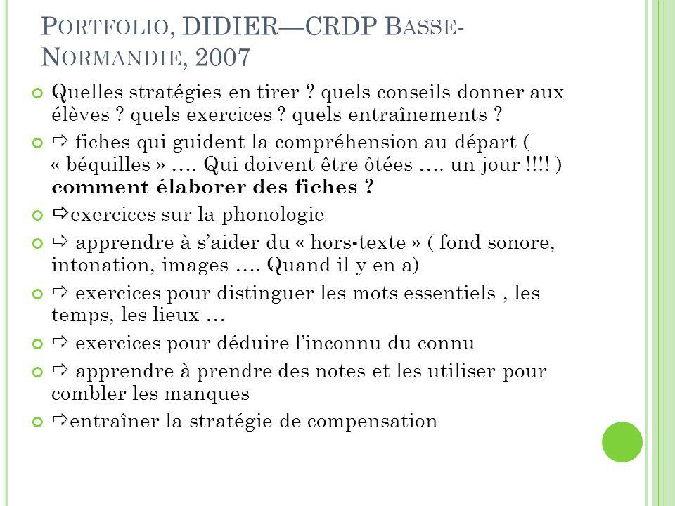 P ORTFOLIO, DIDIERCRDP B ASSE - N ORMANDIE, 2007 Quelles stratégies en tirer ? quels conseils donner aux élèves ? quels exercices ? quels entraînement
