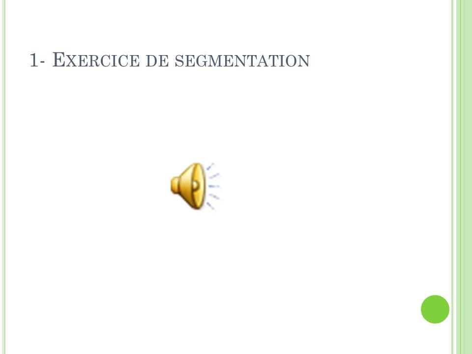1- E XERCICE DE SEGMENTATION