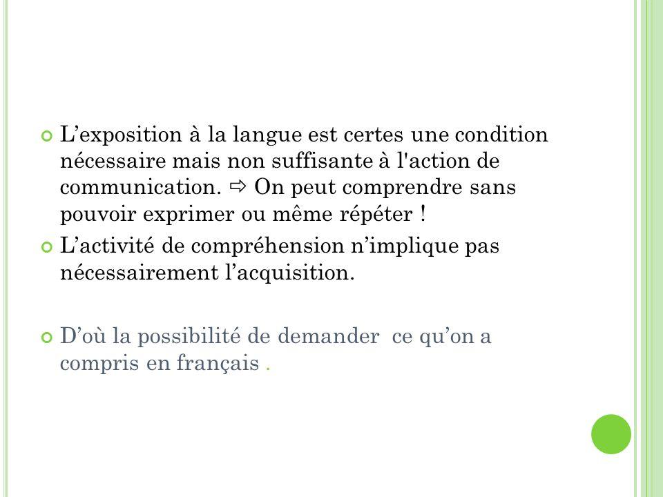 Lexposition à la langue est certes une condition nécessaire mais non suffisante à l'action de communication. On peut comprendre sans pouvoir exprimer