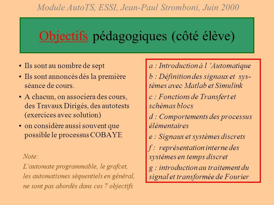Module AutoTS, ESSI, Jean-Paul Stromboni, Juin 2000 Histoire des transformations du module 1996-97 : cours manuscrit, avec transparents et rétroprojec