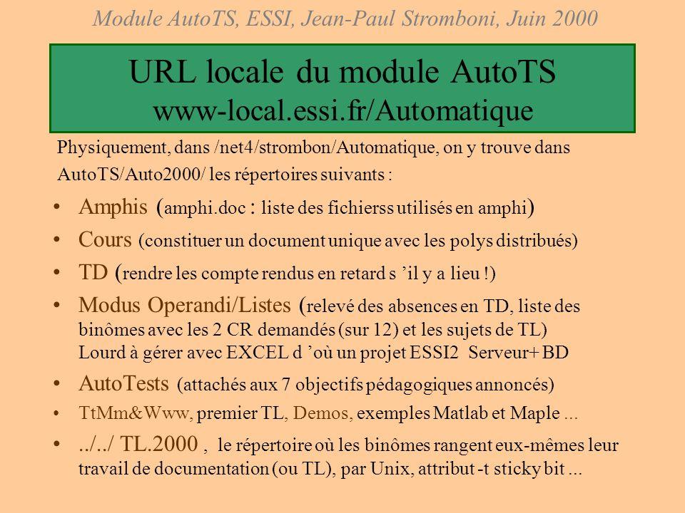 Module AutoTS, ESSI, Jean-Paul Stromboni, Juin 2000 ObjectifsObjectifs pédagogiques (côté élève) Ils sont au nombre de sept Ils sont annoncés dés la p