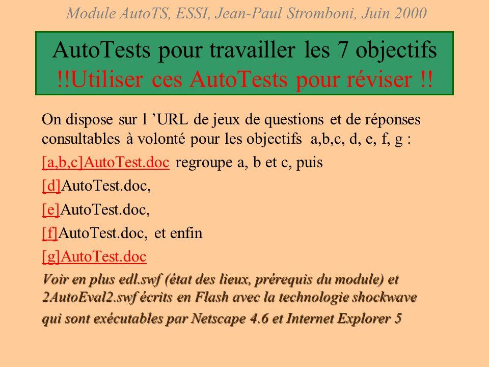 Module AutoTS, ESSI, Jean-Paul Stromboni, Juin 2000 URL locale du module AutoTS www-local.essi.fr/Automatique Amphis ( amphi.doc : liste des fichierss
