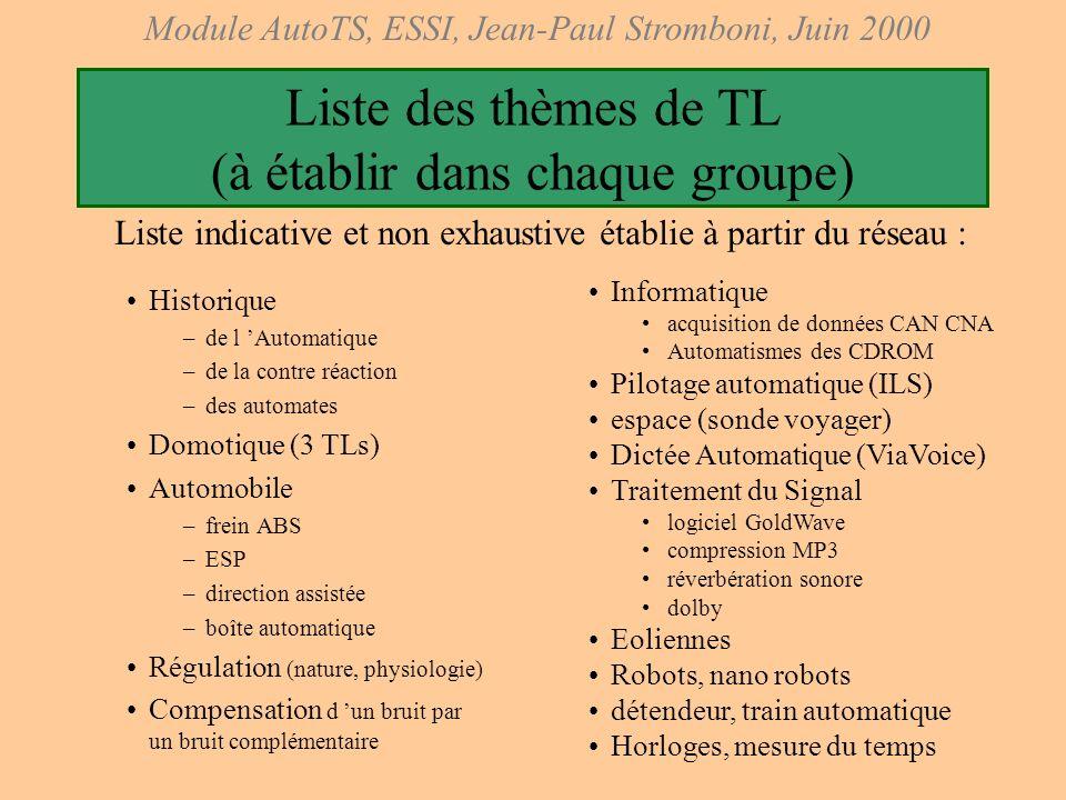 Module AutoTS, ESSI, Jean-Paul Stromboni, Juin 2000 TD 14: dernier TD du module Chaque binôme peut présenter en TD son travail, en principe des pages