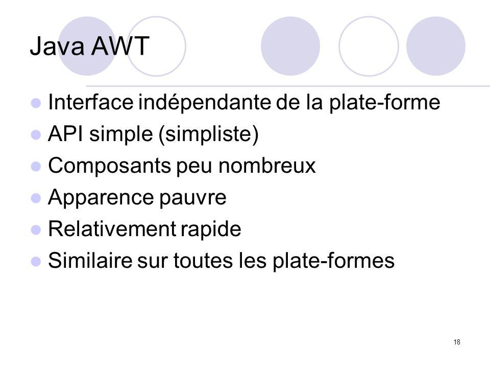 18 Java AWT Interface indépendante de la plate-forme API simple (simpliste) Composants peu nombreux Apparence pauvre Relativement rapide Similaire sur