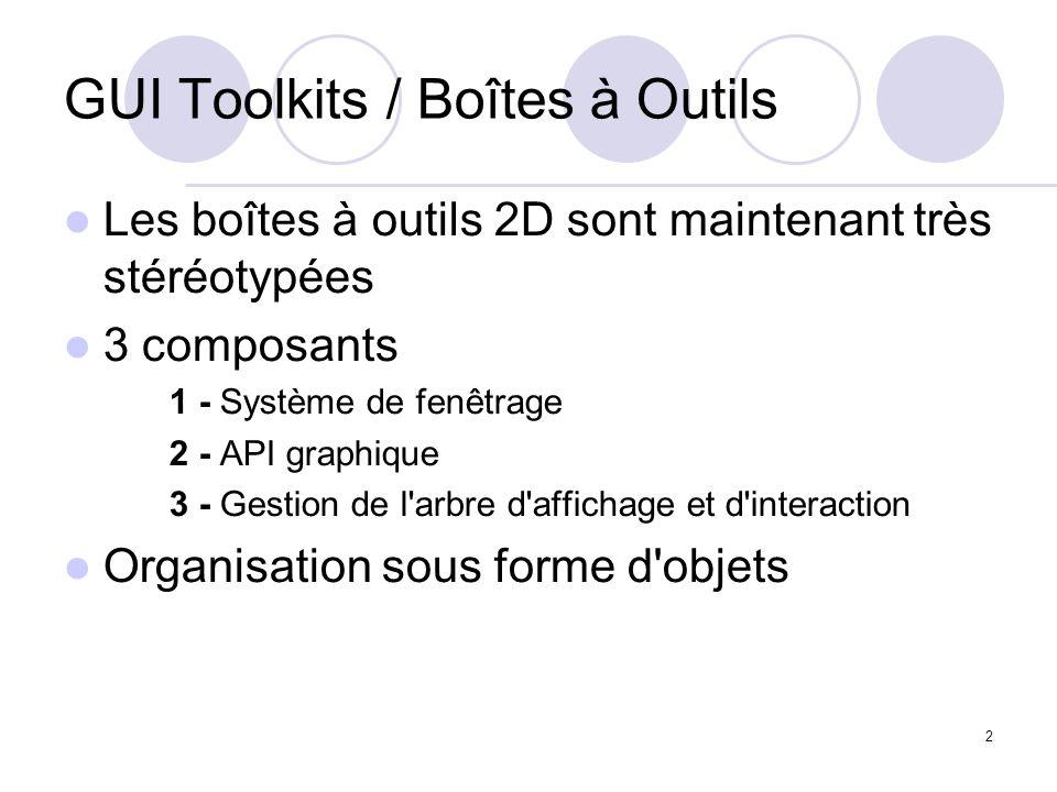 2 GUI Toolkits / Boîtes à Outils Les boîtes à outils 2D sont maintenant très stéréotypées 3 composants 1 - Système de fenêtrage 2 - API graphique 3 -