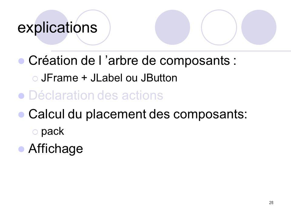 28 explications Création de l arbre de composants : JFrame + JLabel ou JButton Déclaration des actions Calcul du placement des composants: pack Affich