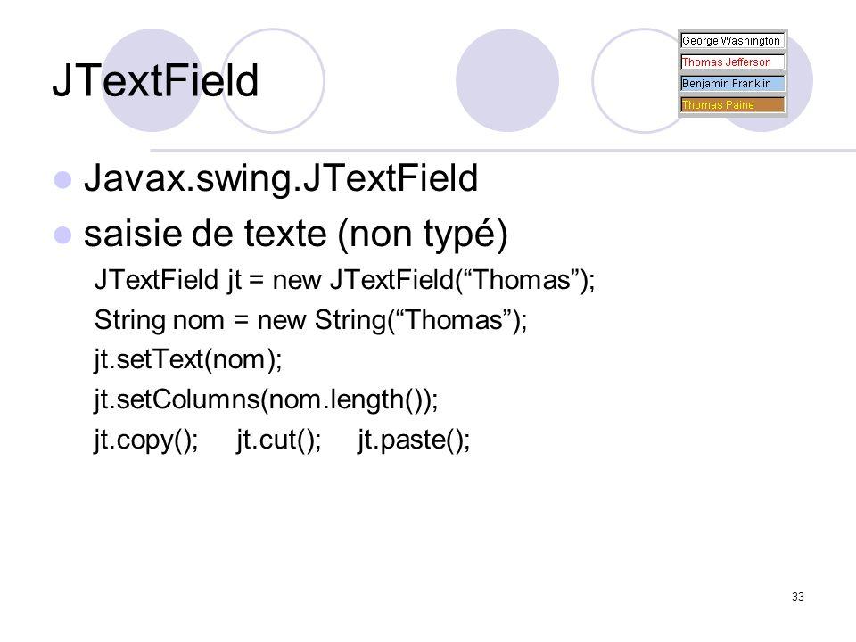 33 JTextField Javax.swing.JTextField saisie de texte (non typé) JTextField jt = new JTextField(Thomas); String nom = new String(Thomas); jt.setText(no