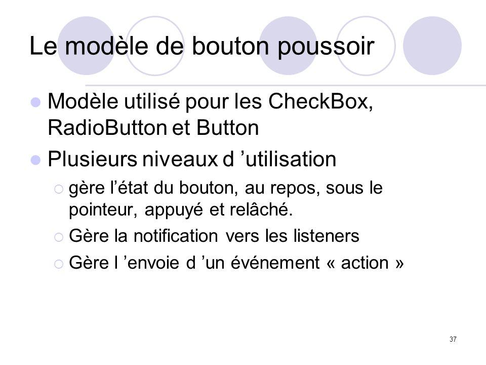 37 Le modèle de bouton poussoir Modèle utilisé pour les CheckBox, RadioButton et Button Plusieurs niveaux d utilisation gère létat du bouton, au repos