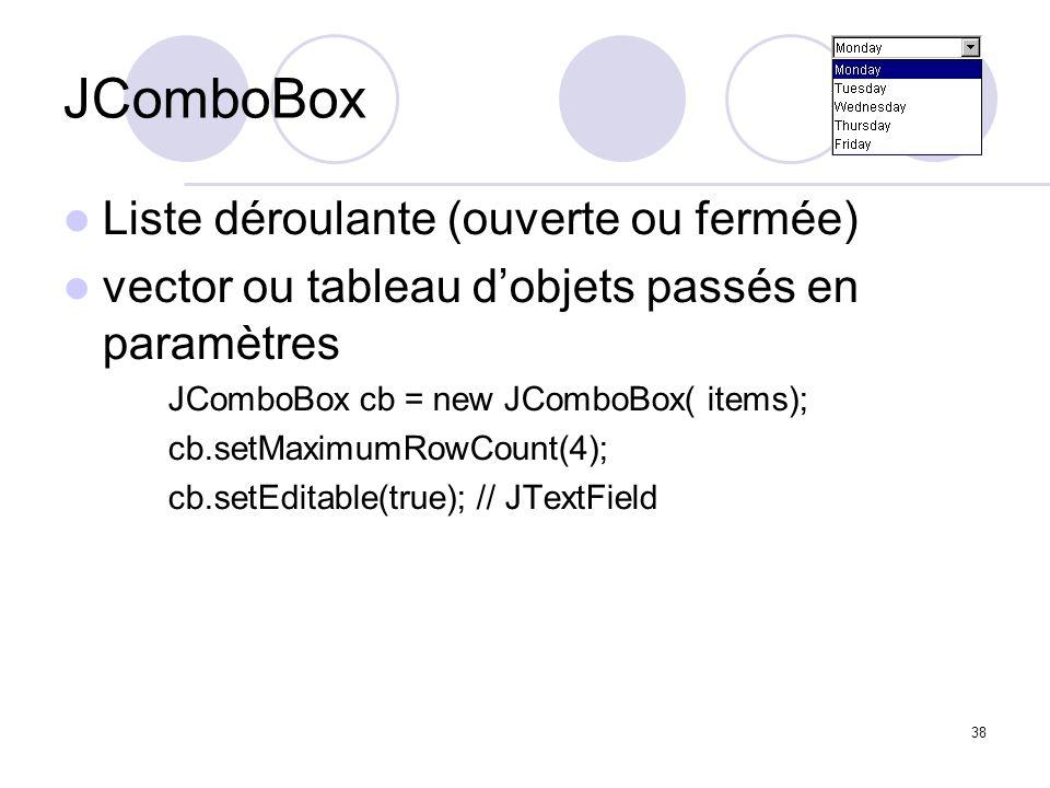 38 JComboBox Liste déroulante (ouverte ou fermée) vector ou tableau dobjets passés en paramètres JComboBox cb = new JComboBox( items); cb.setMaximumRo