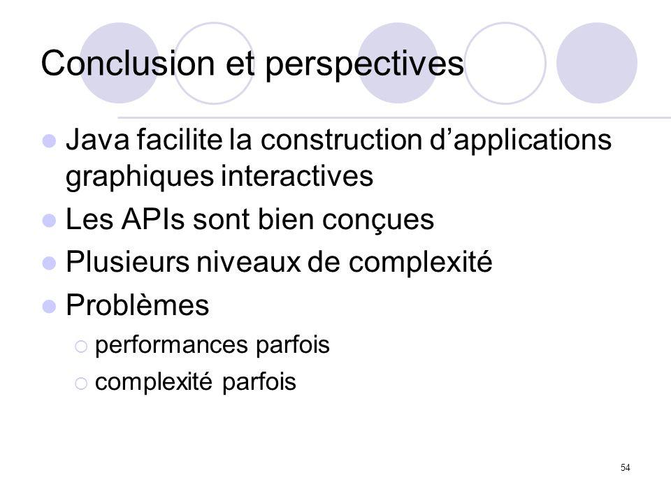 54 Conclusion et perspectives Java facilite la construction dapplications graphiques interactives Les APIs sont bien conçues Plusieurs niveaux de comp