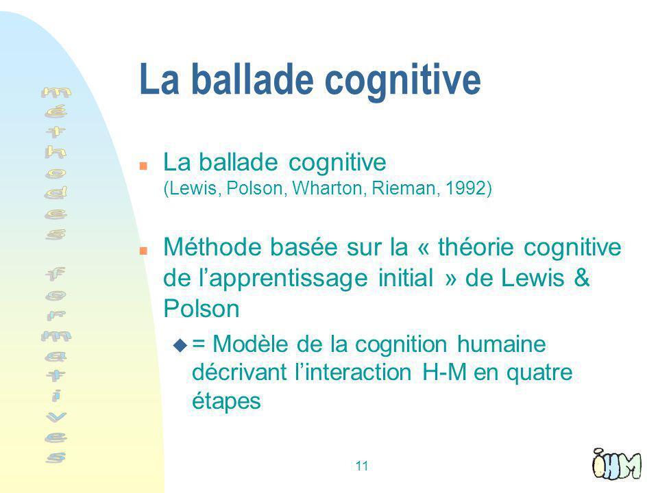 11 La ballade cognitive n La ballade cognitive (Lewis, Polson, Wharton, Rieman, 1992) n Méthode basée sur la « théorie cognitive de lapprentissage initial » de Lewis & Polson u = Modèle de la cognition humaine décrivant linteraction H-M en quatre étapes