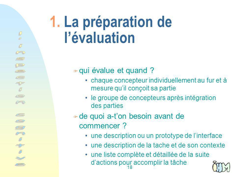 18 1.La préparation de lévaluation F qui évalue et quand .