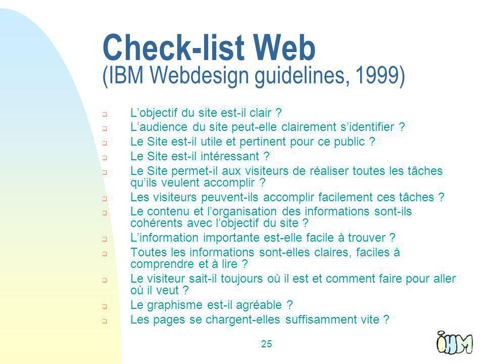 25 Check-list Web (IBM Webdesign guidelines, 1999) Lobjectif du site est-il clair .