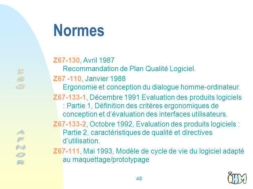 45 Normes Z67-130, Avril 1987 Recommandation de Plan Qualité Logiciel.