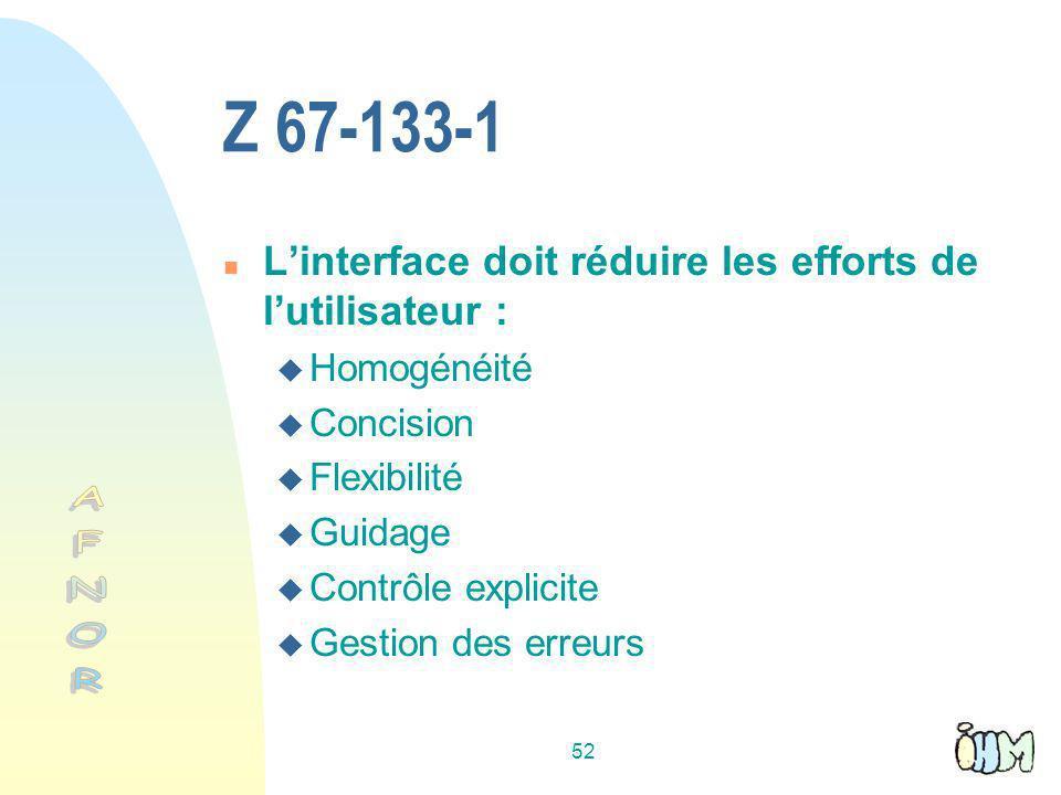 52 Z 67-133-1 n Linterface doit réduire les efforts de lutilisateur : Homogénéité Concision Flexibilité Guidage Contrôle explicite Gestion des erreurs