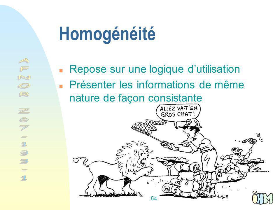 54 Homogénéité n Repose sur une logique dutilisation n Présenter les informations de même nature de façon consistante