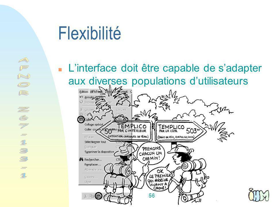 56 Flexibilité Linterface doit être capable de sadapter aux diverses populations dutilisateurs