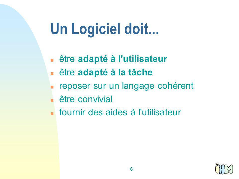 6 Un Logiciel doit...