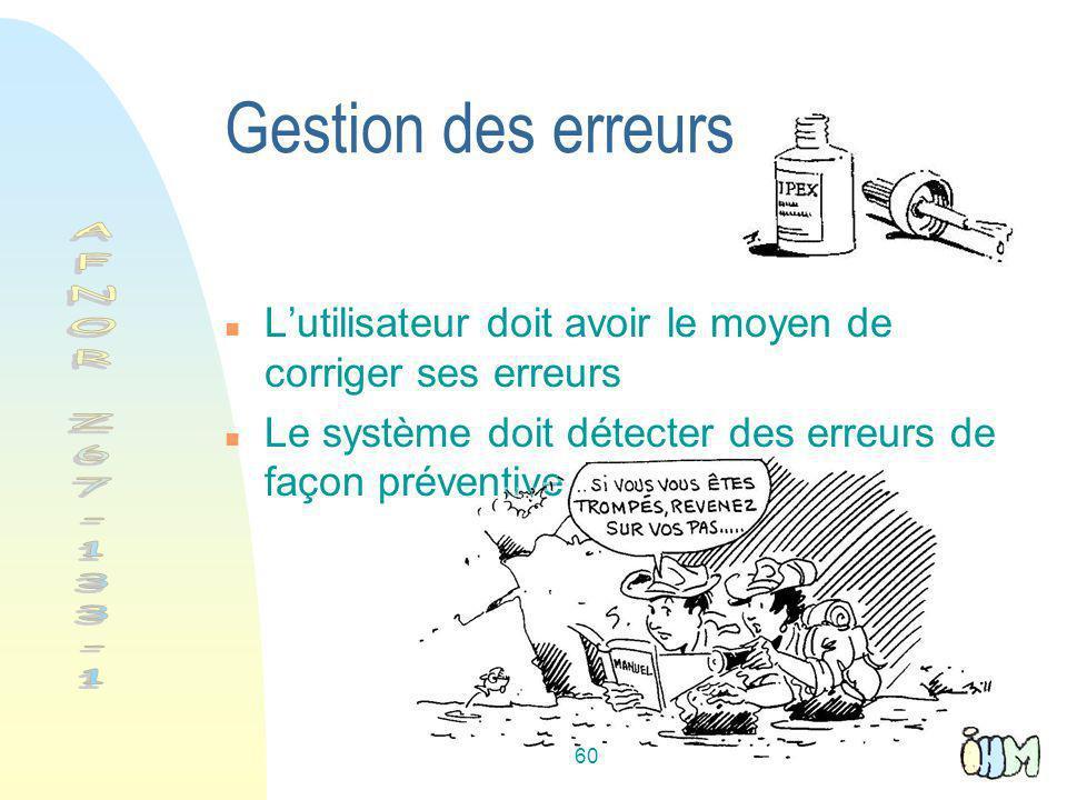 60 Gestion des erreurs Lutilisateur doit avoir le moyen de corriger ses erreurs Le système doit détecter des erreurs de façon préventive