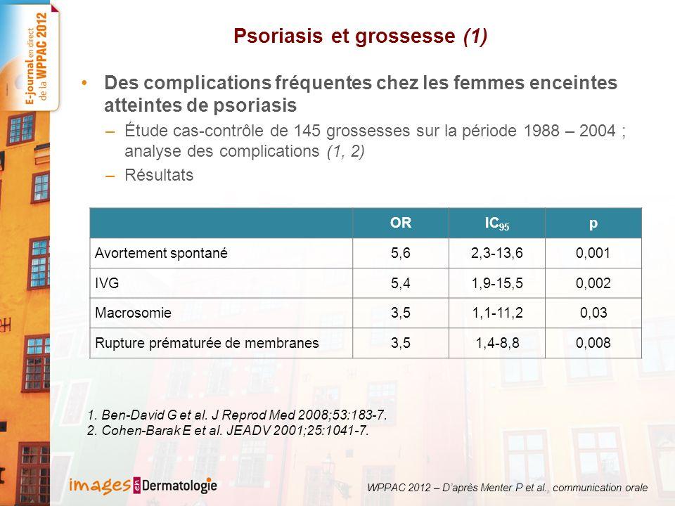 Psoriasis et grossesse (2) Méthotrexate et grossesse : revue en rhumatologie portant sur 101 femmes enceintes exposées au MTX (1) Résultats –23 % (n = 19) avortements spontanés –66 % (n = 55) naissances vivantes –5 % (n = 5) malformations néonatales mineures –18 % IVG WPPAC 2012 – Daprès Menter P et al., communication orale 1.