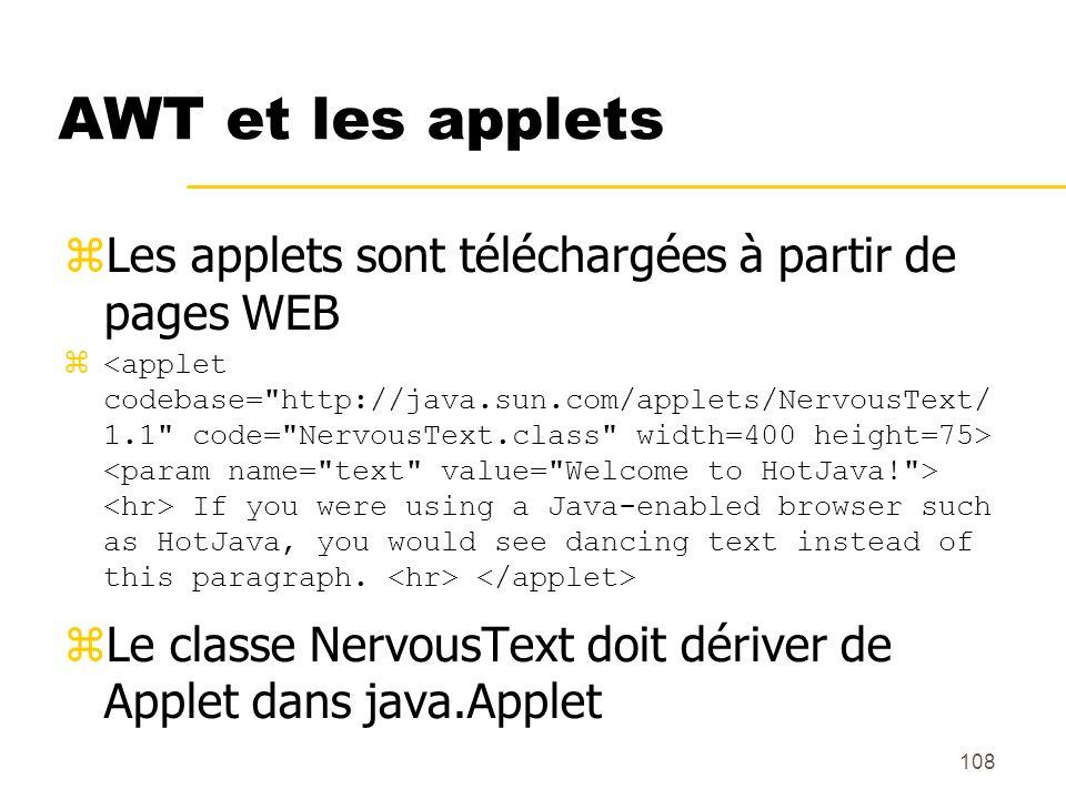 108 AWT et les applets Les applets sont téléchargées à partir de pages WEB If you were using a Java-enabled browser such as HotJava, you would see dan