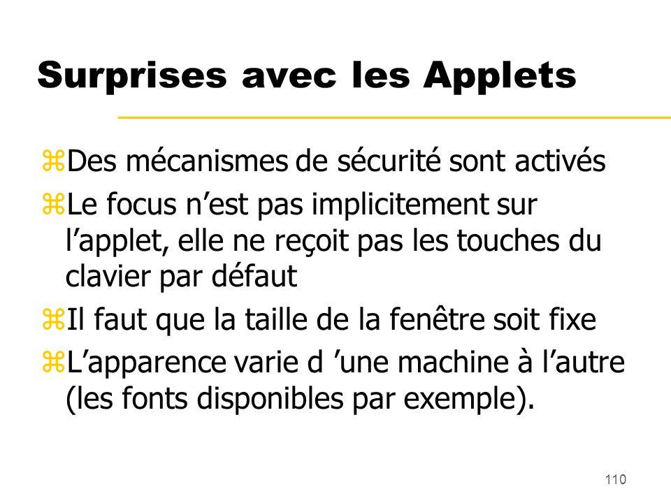 110 Surprises avec les Applets Des mécanismes de sécurité sont activés Le focus nest pas implicitement sur lapplet, elle ne reçoit pas les touches du