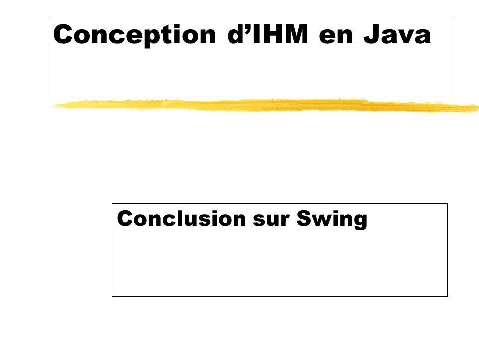Conception dIHM en Java Conclusion sur Swing