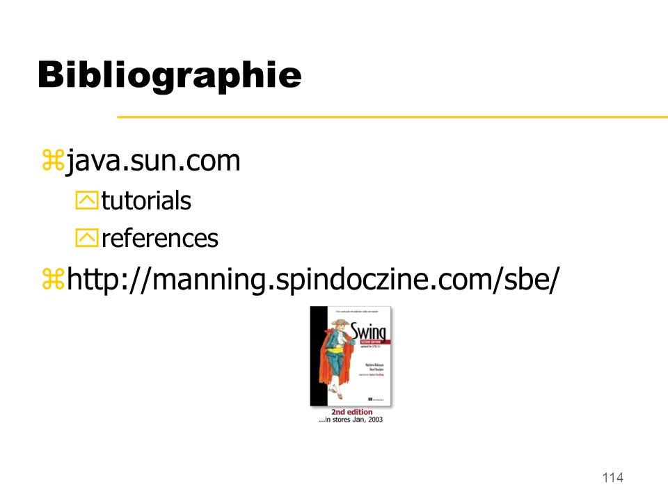 114 Bibliographie java.sun.com tutorials references http://manning.spindoczine.com/sbe/
