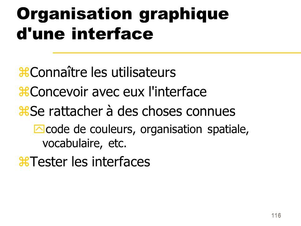 116 Organisation graphique d'une interface Connaître les utilisateurs Concevoir avec eux l'interface Se rattacher à des choses connues code de couleur