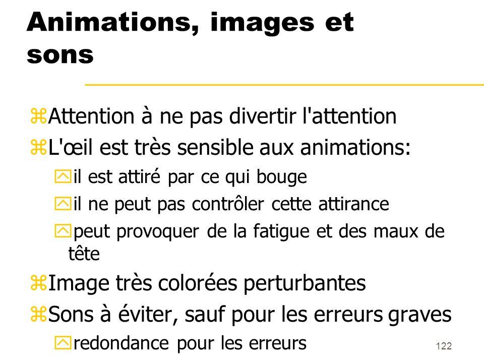 122 Animations, images et sons Attention à ne pas divertir l'attention L'œil est très sensible aux animations: il est attiré par ce qui bouge il ne pe