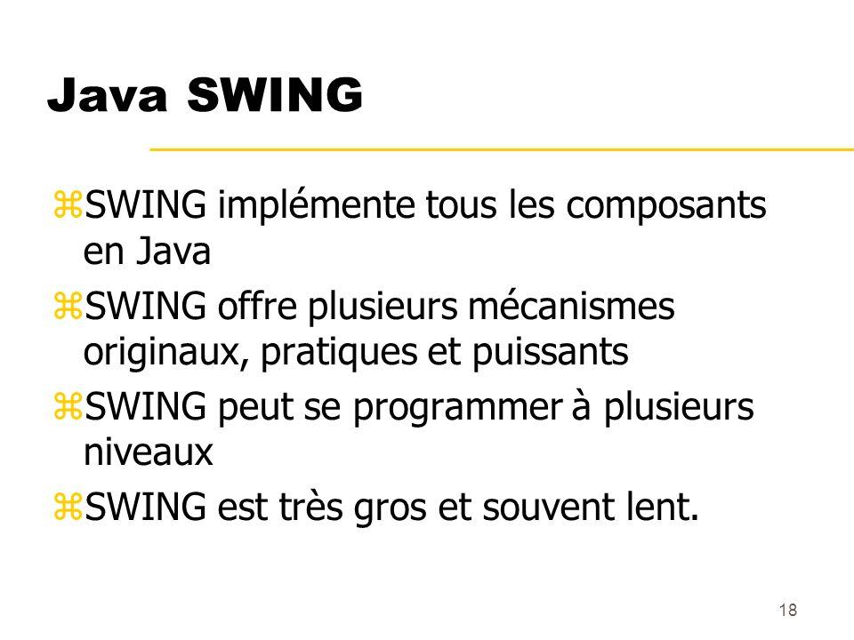 18 Java SWING SWING implémente tous les composants en Java SWING offre plusieurs mécanismes originaux, pratiques et puissants SWING peut se programmer