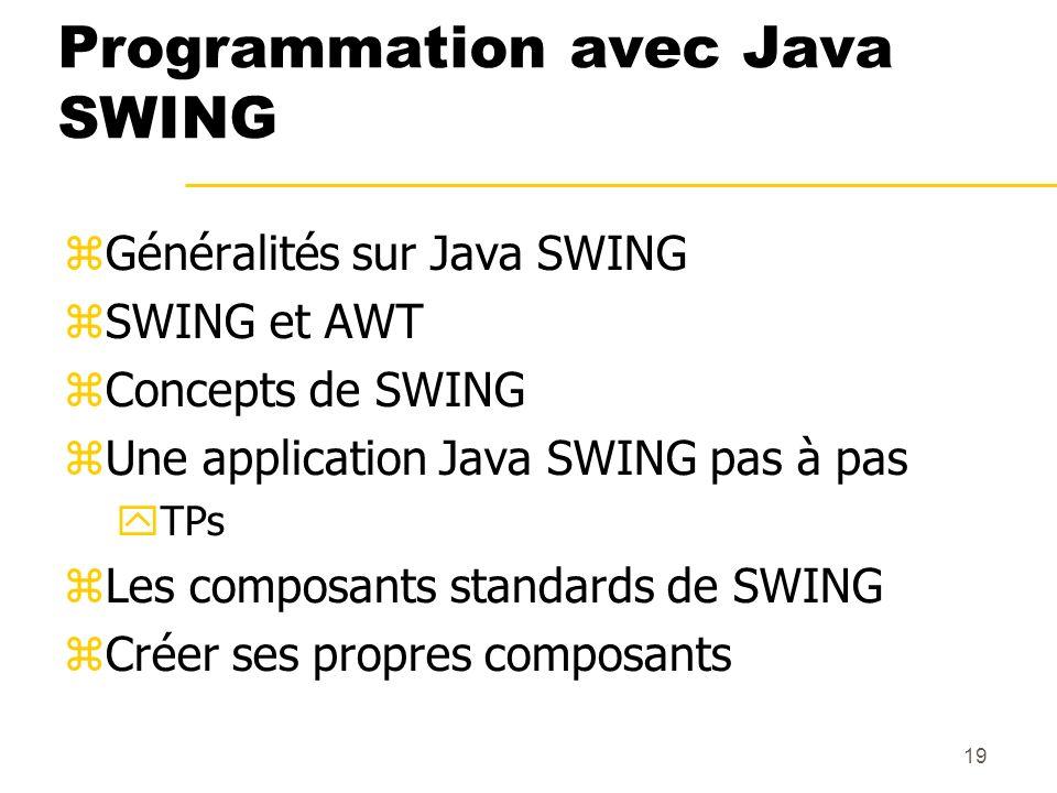 19 Programmation avec Java SWING Généralités sur Java SWING SWING et AWT Concepts de SWING Une application Java SWING pas à pas TPs Les composants sta