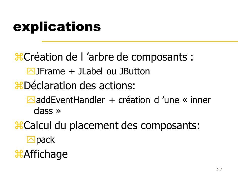 27 explications Création de l arbre de composants : JFrame + JLabel ou JButton Déclaration des actions: addEventHandler + création d une « inner class