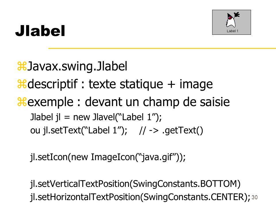 30 Jlabel Javax.swing.Jlabel descriptif : texte statique + image exemple : devant un champ de saisie Jlabel jl = new Jlavel(Label 1); ou jl.setText(La